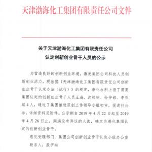 关于天津渤海化工集团有限责任公司认定创新雷火电竞官网骨干人员的公示